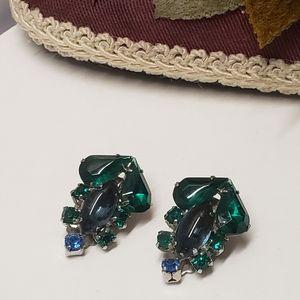 Gorgeous Vintage Emerald Crystal Earrings